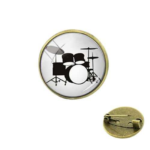 Accesorios de vestir Instrumentos musicales Pernos Baterías DJ Mezclador Musico Broches Kit de Tambor Vidrio Mujeres Hombres Insignia Joyería