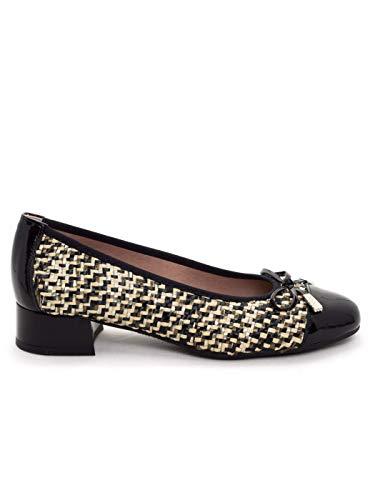 Zapato tacón bajo 3 cm (Negro/Beige, Numeric_36)
