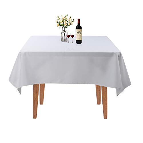 Waysle Square Tablecloth - 52 x 52 Inch - White Table Cloth for Square or Round Tables in Washable Polyester - Great for Wedding | Restaurant | Party | Banquet Decoration
