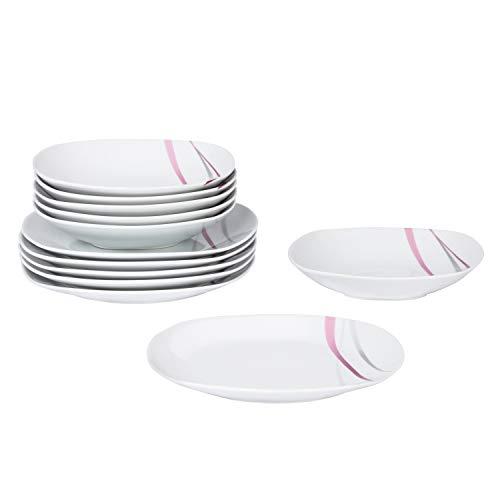 Van Well | 12-TLG. Tafelservice Melina | edles Teller-Set | Speiseteller + Suppenteller | abstraktes Streifen-Design | grau-lila | edles Porzellan