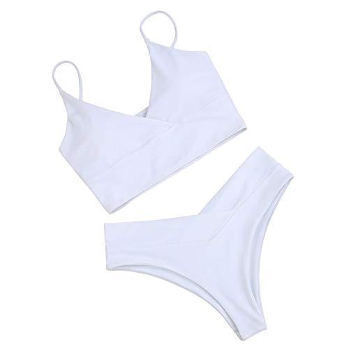 happygirr Split Bikini para mujer, color sólido, traje de baño para verano, playa, viajes, senderismo