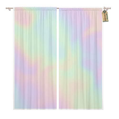 Golee Window Curtain Colorful Iridescent Holographic Pearlescent in Pastel Hues Pearl Gradient Home Decor Pocket Drapes 2 Panels Curtain 104 x 96 inches