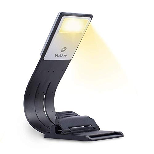 Vekkia Bookmark Book Light, Clip on Reading Lights for Books in Bed, Infinite Brightness Levels, Soft Light Easy for Eyes, Built-in USB Cable Easy Charge. Perfect for Avid Readers