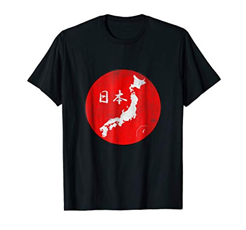 Map of Japan with Nihon in Kanji on Red Background T-Shirt