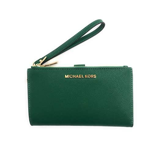 Michael Kors Jet Set Travel Double Zip Saffiano Leather Wristlet Wallet (Jewel Green)
