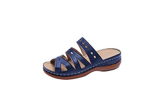 FAYHRH Sandalias Pantuflas de Estar por casa de Hombre,Zapatos de Mujer para Verano, Pendiente de Fondo Plano con Sandalias de Punta Redonda y Abierta y Pantuflas-Blue_39