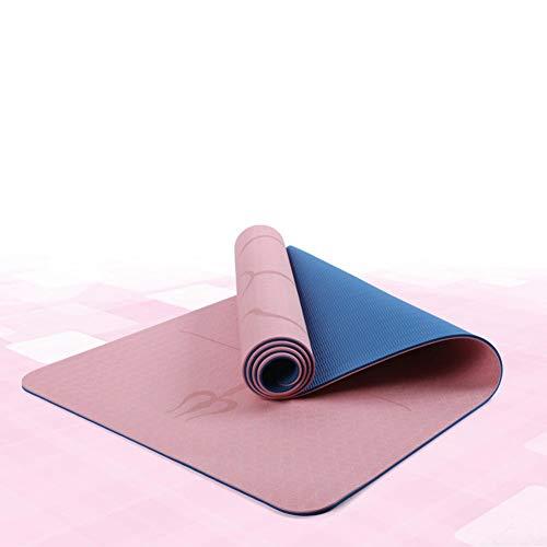 Tapete de yoga BAWAQAF,TPE de dos colores,tapete de yoga con línea de posición,tapete antideslizante duradero,tapete de yoga portátil para el hogar al aire libre