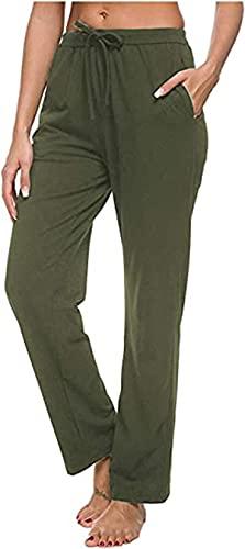 ARTFISH Pantaloni da jogging da donna in cotone, con coulisse e tasche verde militare S
