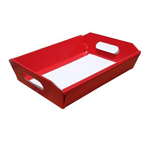 Cesto Carta Cartone Pelle Rossa Grande 520X410H135 X 10 Pz Strenne Cesti Di Natale Small Red Leather Cardboard Box