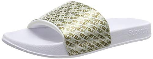 Superdry Damen Repeat Jelly Pool Slide Dusch-& Badeschuhe, Weiß (Optic White/Gold K2h), 36-37 EU (S)