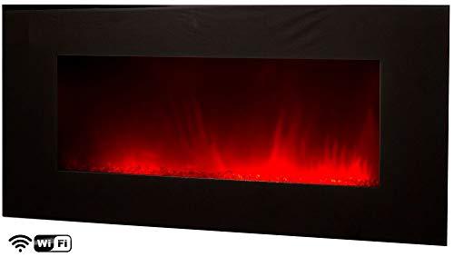 Elektrischer Wandkamin Volcano XXL WIFI von Chemin'Arte per App via Smartphone steuerbar Grosser Elektrokamin 2000W mit LED-Effektfeuer in 4 kombinierbaren Farben Länge 122 cm
