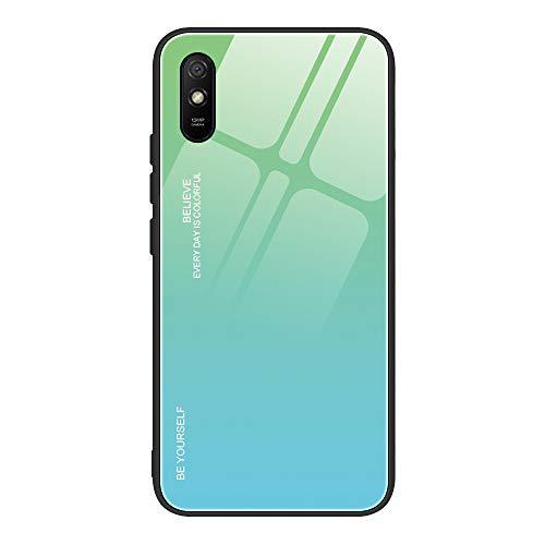 VGANA Funda Compatible para Xiaomi Redmi 9AT, Popular Aurora Degradado Color Ultradelgado Moda Transparente Silicona Suave Protección de TPU Carcasa. Verde/Azul
