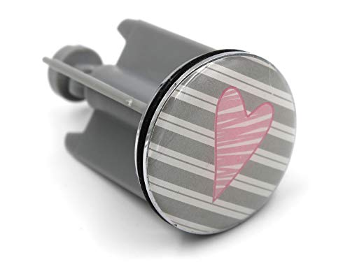 Boltze Deko Waschbecken-Stöpsel, Herz rosa Hintergrund grau weiß Streifen, Motiv-Auswahl, 40mm, Waschbecken-Stopfen Bad Abfluss-Stopfen