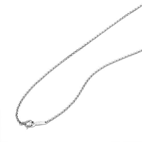 [ルビイ] ホワイトゴールド K18 ロール チェーン ネックレス 幅1.7mm 長さ60cm