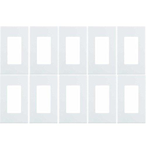 Leviton 80301-SW 1-Gang Decora Plus Wallplate Screwless Snap-On Mount (10 Pack, White)