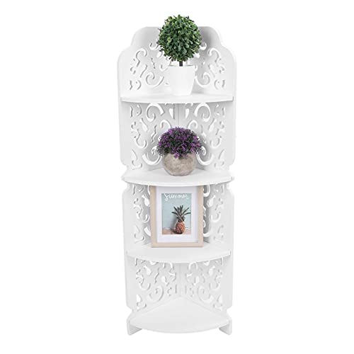 GOTOTOP Corner Shelf,4 Tiers Wall Mounted Corner Display Shelf Bookcase Storage Organiser Stand Cosmetic Storage Rack Carved Dampproof Shelving Unit for Home Office Bathroom White