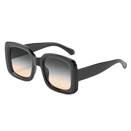 ZZOW Gafas De Sol Cuadradas Al Aire Libre De Moda para Mujer, Gafas De Sol Cuadradas Uv400 Vintage para Hombre, Gradiente, Amarillo, Rosa, Gafas De Sol
