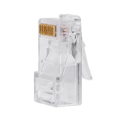 Enchufe Modular Cat5e RJ45, 100 PCS/Lote Conector de Internet de Red Cat5 Cat5e, Cabezas de Enchufe Modular de Cable Transparente RJ45 8P8C, Chapado en Oro 8P8C