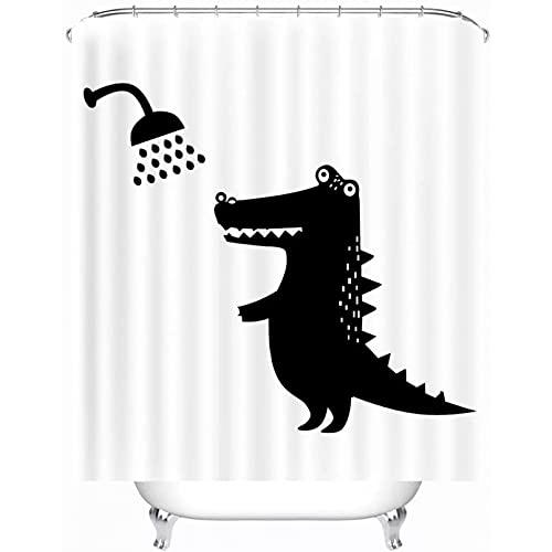 Fmiljiaty Lustige Tier Schatten Duschvorhang Anti-Schimmel Polyester Textil Stoff Bad Vorhang Duschvorhang Krokodil mit 12 Kunststoffhaken-180x180cm