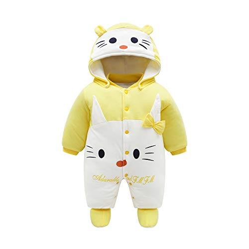 JinBei Pelele de algodón para Bebé,Bebés Niñas De Los Muchachos Mameluco Recién Nacido Calentar Juego del Cuerpo Otoño Invierno Infantil Buzos Equipar, Botones, Gato Amarillo,0-3 Meses