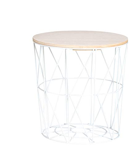 Moderner Beistelltisch Metall Korb mit Holz Deckel - dekorativer Sofatisch inkl. Korbablage mit Stauraum weiß - helle Tischplatten - Wohnzimmer Tisch (29x30 cm)
