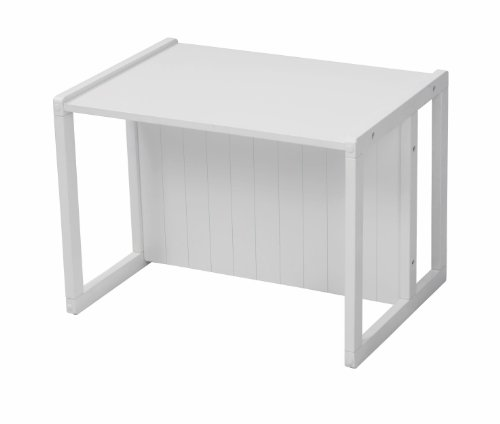 roba Banc/Table en style maison de campagne, MDF laqué en blanc, en tournant le banc, il devient une petite table, hauteur assise: 18 ou 28cm, hauteur surface table: 43cm, HxLxP: 44x57x44cm.