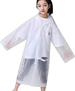 Vbirds Kids Children Rain Poncho - Portable PVC Lightweight Waterproof Emergency Raincoat for Girls Boys with Hoods and Sleeves Perfect for Outdoor Activities White