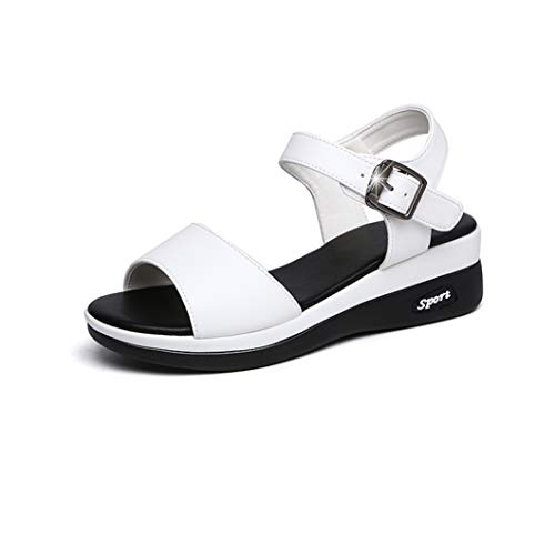 CYBLING Women's Summer Beach Flat Sandals Casual Platform Open Toe Ankle Strap Anti-Slip Wedge Shoes White