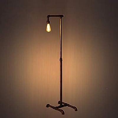 Dkdnjsk Lampadaire Européen Rétro en Fer Loft Industriel E27 Lampadaire E27 Lampadaire Simple Tête Industriel Rétro E27 Simple Tête Tube en Fer Forgé Support Lampe Lampe Pipe Lumière E27