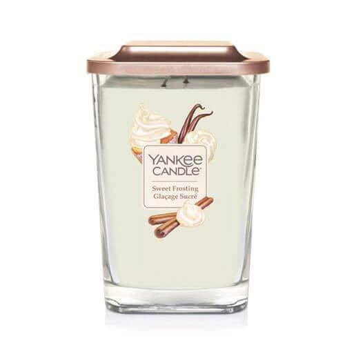 Collezione Yankee Candle Elevation con Coperchio della Piattaforma Grande Candela Quadrata a 2 Stoppini, Sweet Frosting