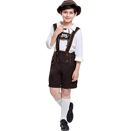 RONSHIN Kinder Junge Mode Oktoberfest Kellner Cosplay Kostüm Lederhose Bluse Hemd Khaki L