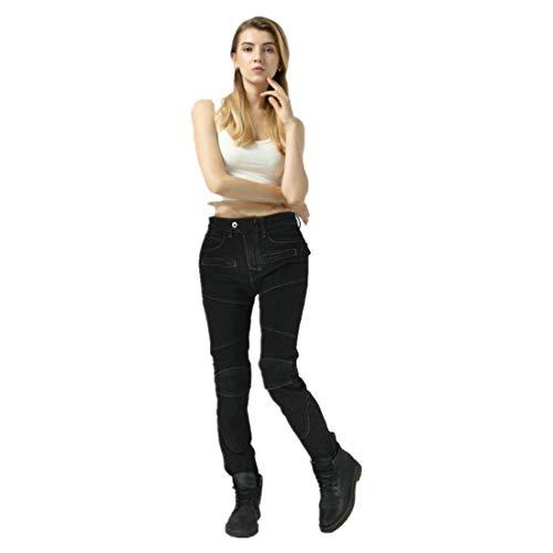 TIUTIU Pantaloni Protettivi Da Moto, Pantaloni Da Corsa Elasticizzati Da Donna, Con 4 Imbottiture Protettive Rimovibili, Indossabili In Tutte Le Stagioni (Black,XS)