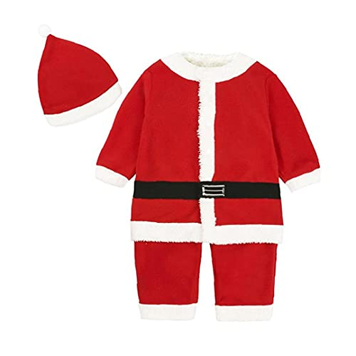 Infant Santa Christmas Outfit Christmas Baby Clothes Holiday Costume Baby Product Winter Long Sleeve Jacket for Baby 90cm Red 1set