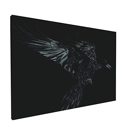 Arte de pared,Pájaro Grunge Volando Cuervo Negro Página Vid,pinturas al óleo enmarcadas impresas en lienzo Obra de arte moderna para sala de estar dormitorio decoración de pared de oficina
