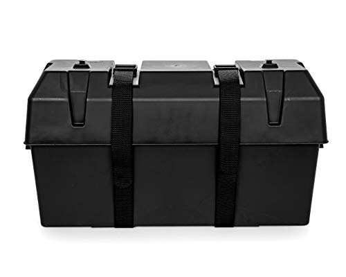 Camco Heavy Duty Double Battery Box with Straps and Hardware - Group GC2 | Safely Stores RV, Automotive, and Marine Batteries |Durable Anti-Corrosion Material | Measures 21.5' x 7.4' x 11.2' - (55375)
