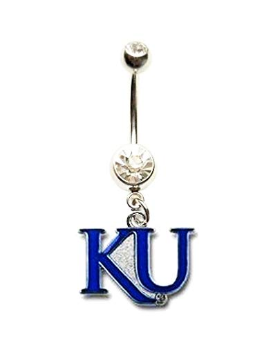 KU KANSAS UNIVERSITY JAYHAWKS SPARKLES Navel Belly Button Ring Body Jewelry Piercing