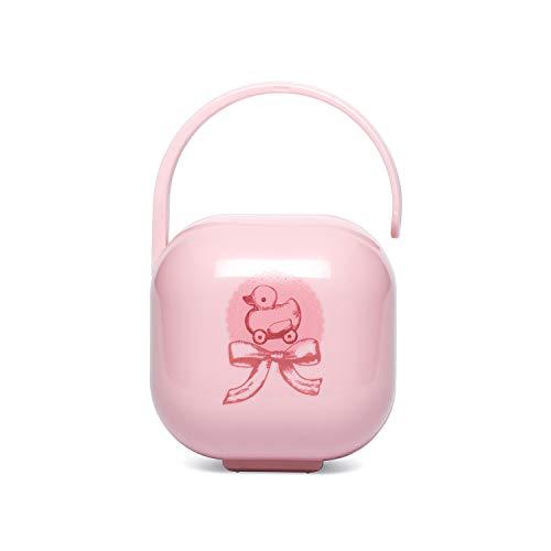 Suavinex - Portachupete para bebé. para llevar 2 chupetes. Caja Portachupetes portátil. Funda para chupetes. diseño vintage, color Rosa