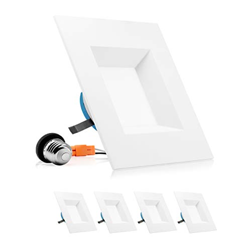 PARMIDA 6 inch Dimmable LED Square Recessed Retrofit Lighting, Easy Downlight Installation, 12W (100W Eqv.), 950lm, Ceiling Can Lights, Energy Star & ETL-Listed, 5 Year Warranty, 3000K - 4 Pack