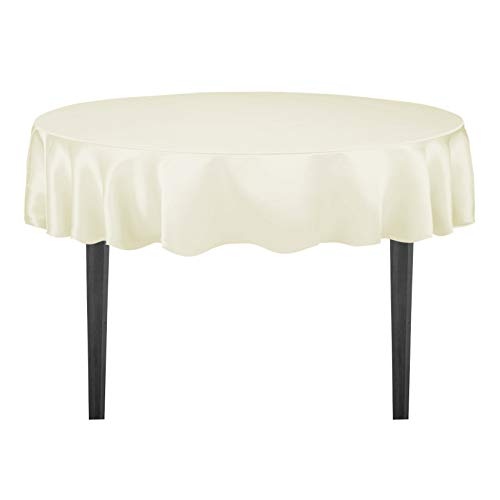 LinenTablecloth 90-Inch Satin Tablecloth, Round, Ivory