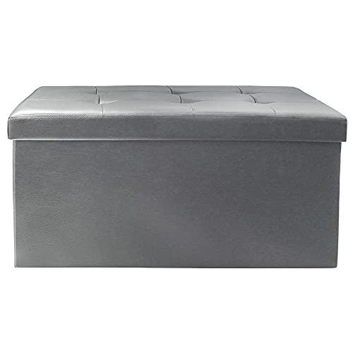 Baúl Puff - Taburete para Almacenaje Plegable Carga máxima de 300 kg, 76 x 38 x 38 cm (Gris). Mod. DE4012