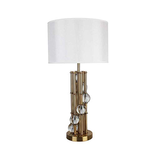 Lámpara Escritorio Lámpara de mesa de metal, lámpara de mesa de cristal para sala de estar y dormitorio, lámpara de mesa de decoración del hogar, lámpara de mesa de gran tama?o, lámpara de mesa dorada