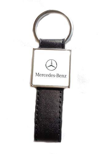 Porte-clés Acier/Simili Cuir Logo Mercedes (Fond Blanc)