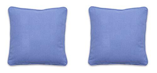 Homevibes Set de 2 Fundas de Cojín Liso de 50 x 50 cm, Juego de Fundas de Cojin con Ribete, Fundas de Cojin para Sofa Comedor Dormitorio, 4 Colores (Azul)
