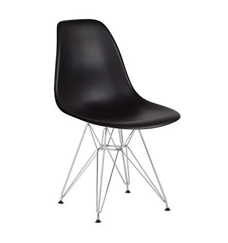 Icons Corner Pack 4 sillas Negro IMS Modelo Eiffel Patas cromadas