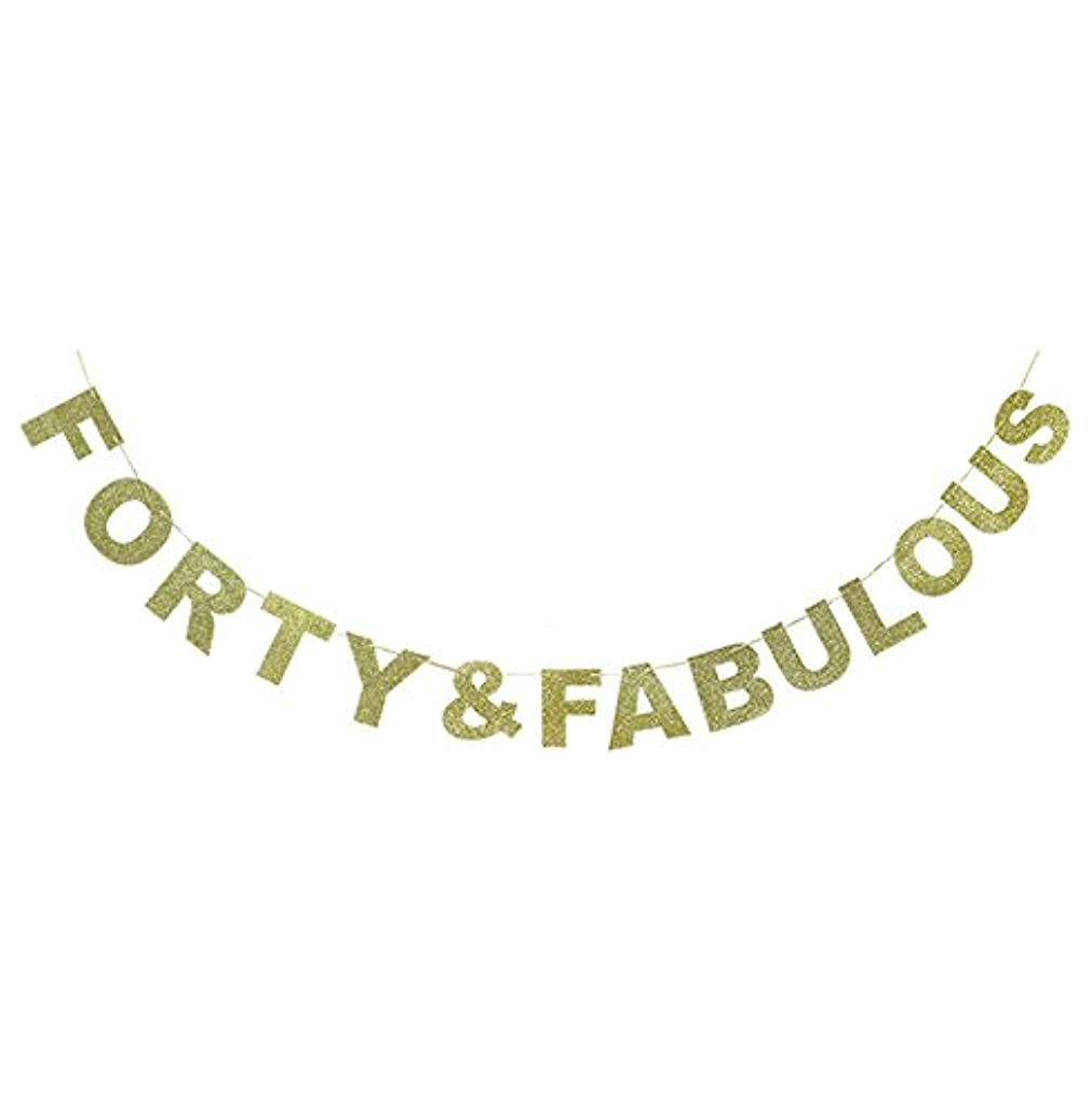 Hatcher lee Forty & Fabulous Banner Gold Glitter For Wedding Anniversary 40th Birthday 40 Years Old Party Decoration Sign Ideas gnb9221208