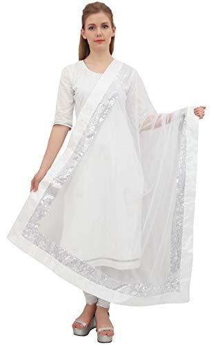 Phagun Indian Chunni Frauen Long Neck Wrap lange Stola Net Dupatta Schal-Weiß