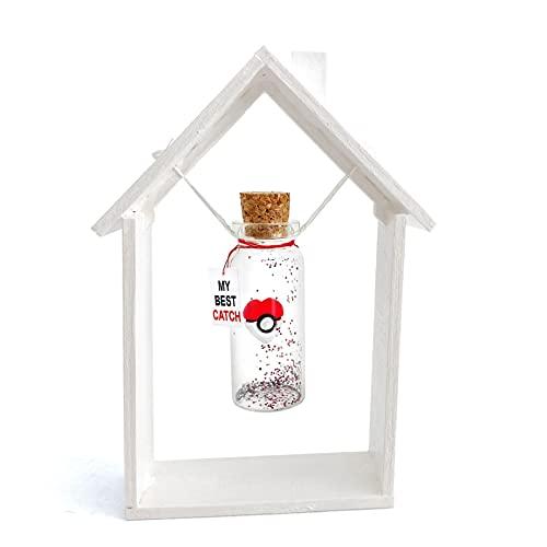 Poké Ball Heart in Bottle with Frame