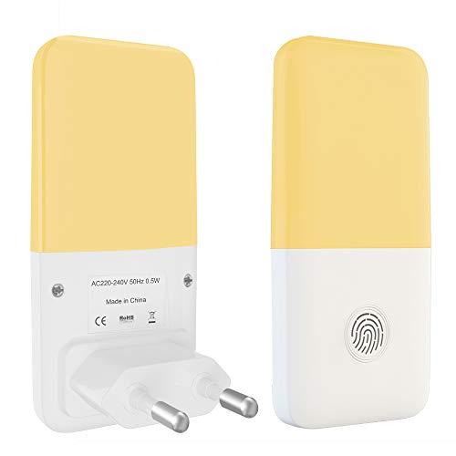 Babyliya Steckdose LED Nachtlicht mit Dämmerungssensor, Energieeffizient Warmweiß Lampe mit Einstellbarer Helligkeit für Mitternacht Bequemlichkeit, Schlafzimmer, Kinderzimmer, Flur, Treppe, 2 Stück