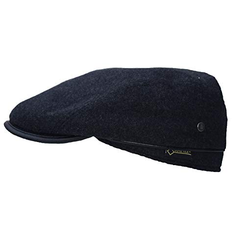 Gore-Tex-Schiebermütze, mit Ohrenklappen aus 80% Wolle, 20% Polyamid Mütze windicht, regendicht und atmungsaktiv mit gestepptem Innenfutter. Flatcap-Mütze mit Leder-Optik an Schitm und Steg …