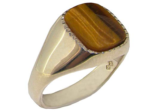 Gents Solid Sterling Silver Natural Tigers Eye Mens Signet Ring - Size O